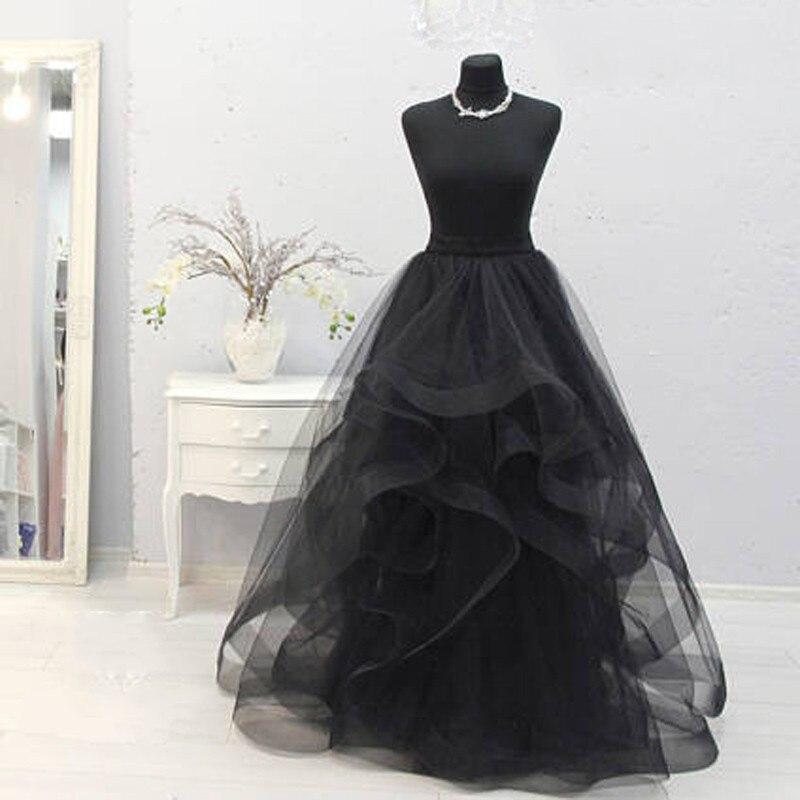 Custom Jupe Denim Pour Made Organza Style Ruches Magnifique Longues Engagement Zipper Boho À Jupes Femme Parti Femmes Noir zLGSpqUVM