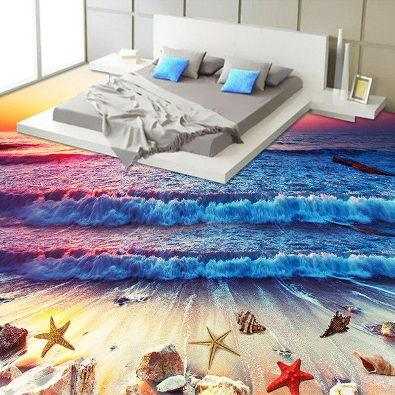 3D Wallpaper Modern Colorful Sunset Beach Sea Waves Floor Tiles Murals Bedroom Bathroom PVC Waterproof Wear Vinyl Wall Paper 3 D