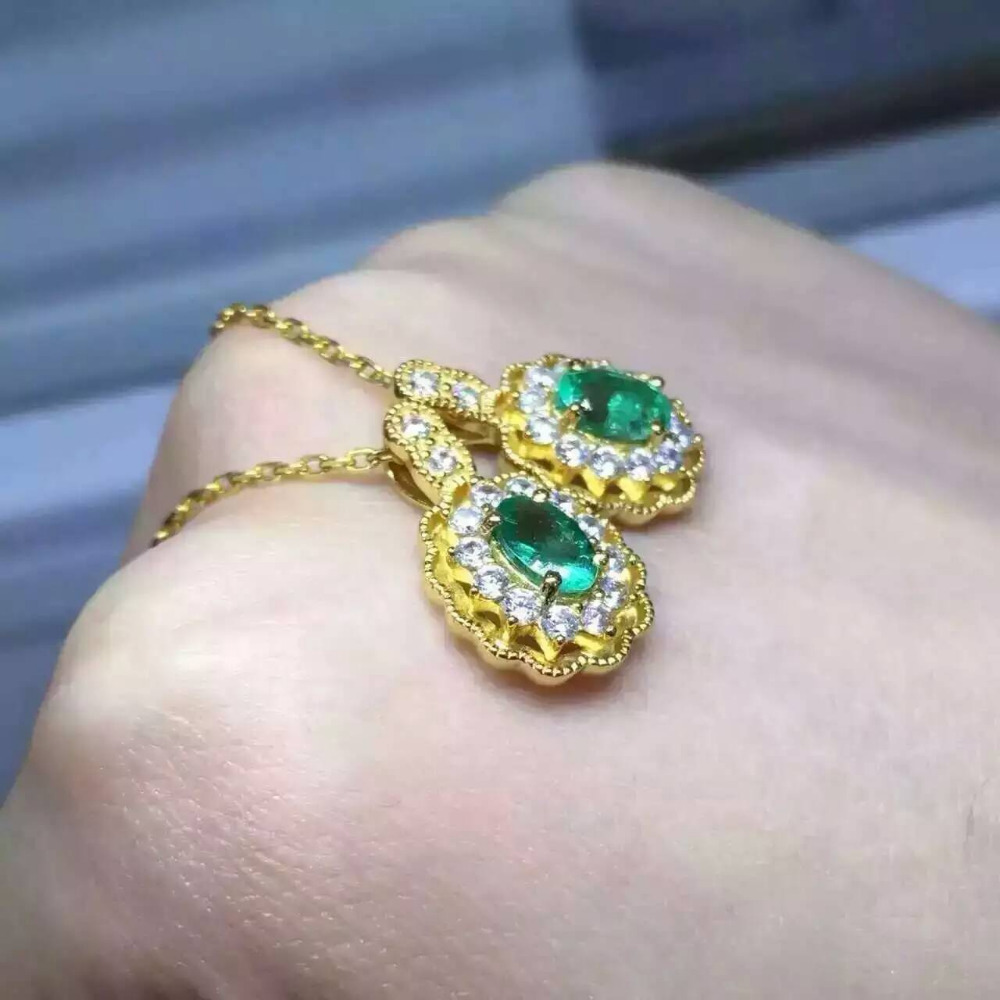 все цены на natural green emerald stone pendant S925 silver Natural gemstone Pendant Necklace trendy Diana elegant round women party jewelry