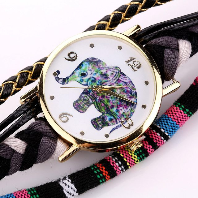 Ladies Leather Fashion Watches Luxury Gold Elephant Dress Watches 2017 Duoya Weave Band Luxury Bracelet Watch Quartz Clock