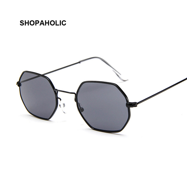 Fashion Sunglasses Women Brand Designer Small Frame Polygon Clear Lens Sunglasses Men Vintage Sun Glasses Hexagon Metal Frame 1