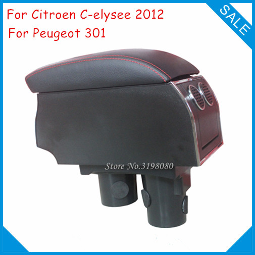For Citroen C-elysee 2012 Peugeot 301 8pcs USB Armrest,Car center arm rest storage console box with cup holder Car Accessories