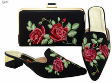 Fashion black with flower embroidery lower heel shoes matching with handbag set for party MM6003 heel height 3.8cm, multi color