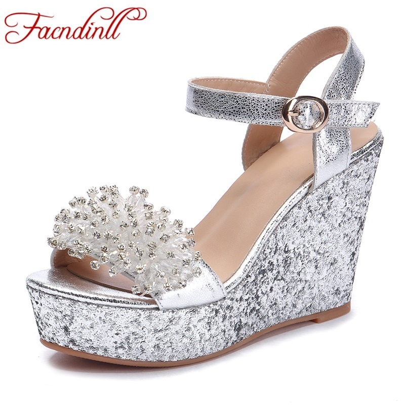 FACNDINLL new Sexy summer shoes platform high heels wedges sandals shoes woman fashion high heeled rainbow silver shoes sandals phyanic 2017 gladiator sandals gold silver shoes woman summer platform wedges glitters creepers casual women shoes phy3323