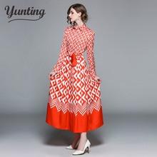 Women 's Fall Runway Print Dress Long Sleeve Maxi Dress with Belt