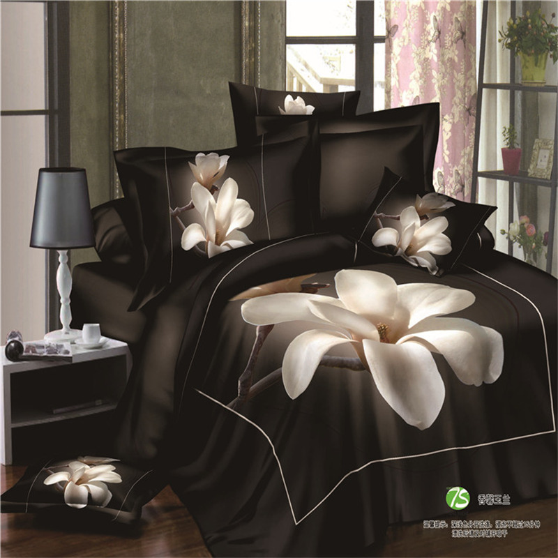 Black 300Thread count Pink cotton Bedding set girl's bed sheets Queen/king size Duvet cover set