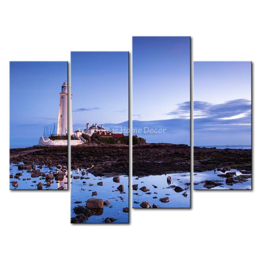 Lighthouse Wall Art 3 piece wall art painting st. mary's lighthouse many stones on