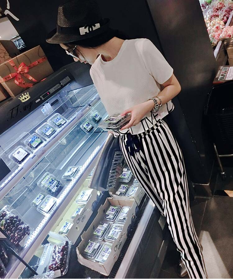 HTB1XotYo2uSBuNkHFqDq6xfhVXa4 - 2pieces summer set women tracksuit outfit casual lovely printing cotton letter short t-shirt tops+striped harem pants sweatshirt