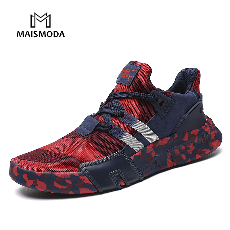 MAISMODA Autumn Fashion Casual Mesh Shoes Men 2018 Flat Shoes Winter Lace Up Breathable Male Footwear Camouflage Color Plus Size рубашка mango man mango man he002emvbk02