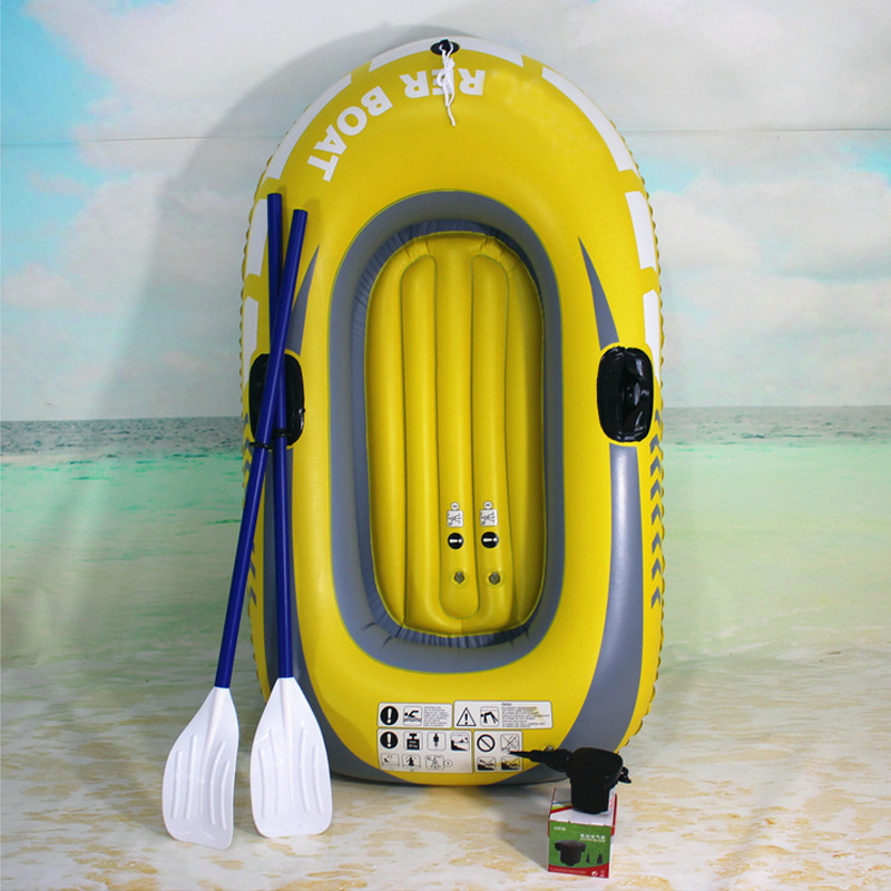 1 or 2 Person Inflatable Boat Set Fishing Raft with Oars and High Output Air Pump Floating Water Inflatable Raft for Fisherman