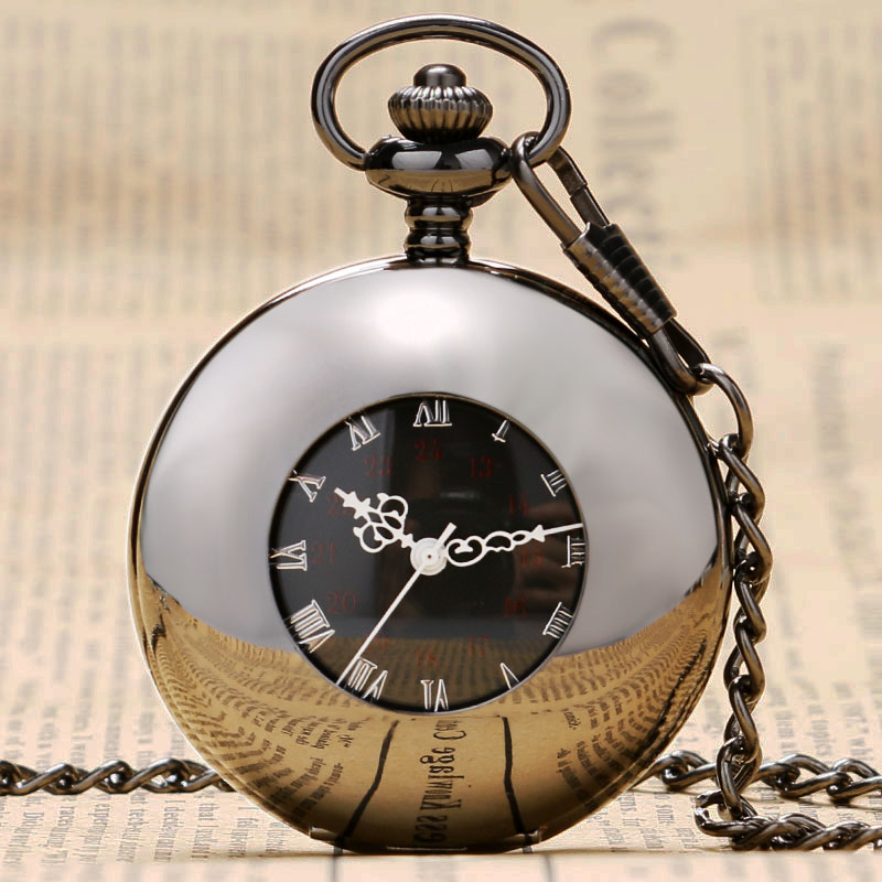 2019 Trendy Style Hollow Black Smooth Case With White Roman Number Dial Mechanical Steampunk Fob Pocket Watch