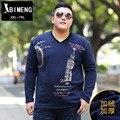 Bi Mengchao código adicionar fertilizantes aumentou de gordura gordura dos homens da marca grande V colarinho da camisa com tecido de impressão T-shirt de manga comprida TX140