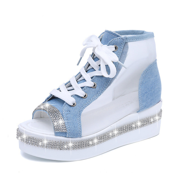 edd21c7a0 Rhinestone Glitter Sandals Women Platform Gladiator Ankle Peep Toe Mesh  Breathable Wedge Lace Up Jean Crystal Bling Shoes