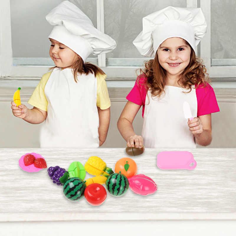 13-69 Uds. Niños de cocina simulan jugar juguetes de cortar frutas vegetales miniatura de comida juego carrito de compras juguetes educativos regalo