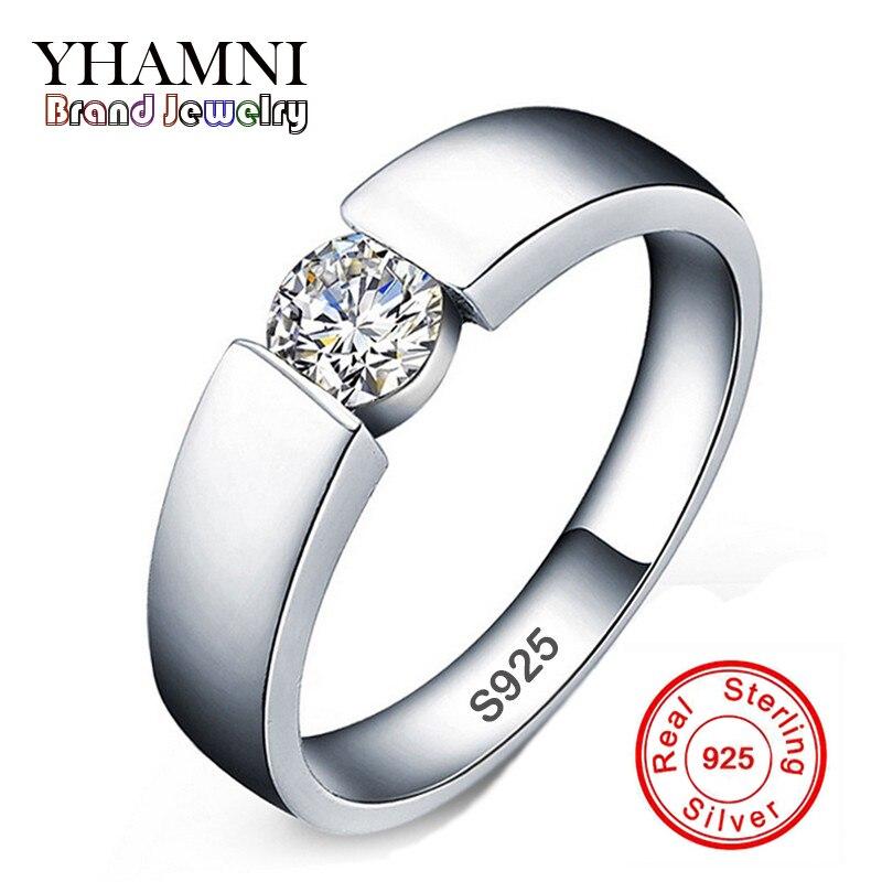 YHAMNI 100% d'origine Solide 925 Argent Anneaux Set 6mm 1ct CZ Diamant Bagues de Fiançailles Bijoux De Mariage Anneaux pour les Femmes et Hommes RD10