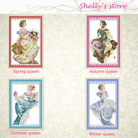 Spring Queen Summer Four Season Lady Beauty Painting Counted Or Stamped 11CT 14CT Cross Stitch Kit