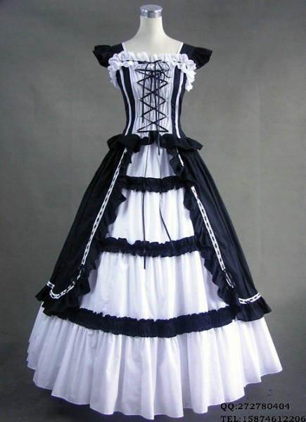 Free Shipping Lolita one-piece Sleeveless Long Black & White gothic victorian ball gowns