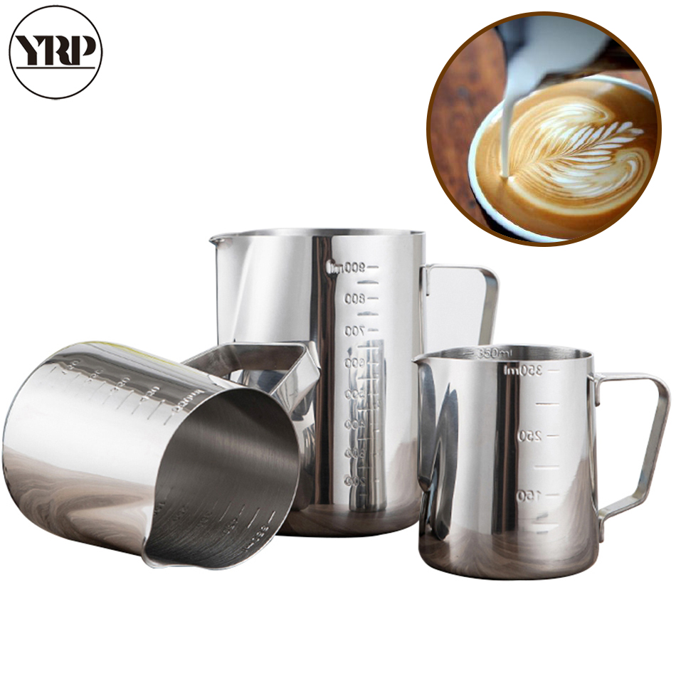 YRP Stainless Steel Milk Frother Jugs Espresso Coffee Mugs  Barista Tools Cappuccino Cups Craft Latte Pot Kitchen Accessories