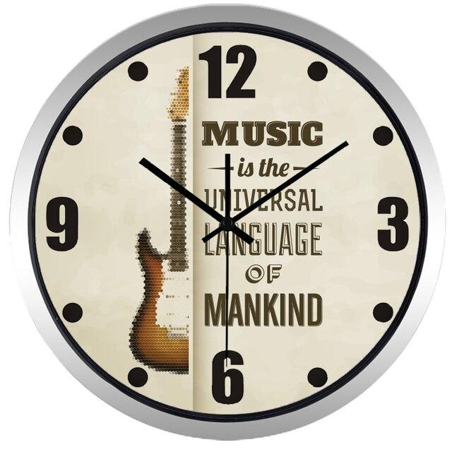 Design Wanduhr einfache gitarre marke design wanduhr für musik zimmer uhr in