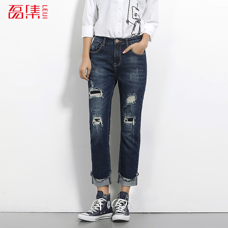 2017 LEIJIJEANS NEW Arrival Ripped jeans for women high quality fashion jeans patchwork hole jean mid waist fashion straight 2017 leijijeans new arrival ripped jeans woman black jeans for women mid waist low elastic hole demin jeans irregular cuff