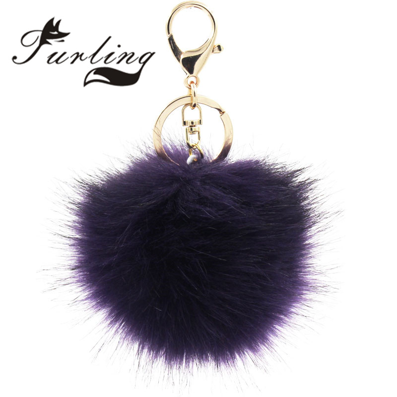 Furling 1PC Gold PlatingKeychain with 10cm Faux fur Pom Poms Women Hand Bag Charms KeyChain Accessories