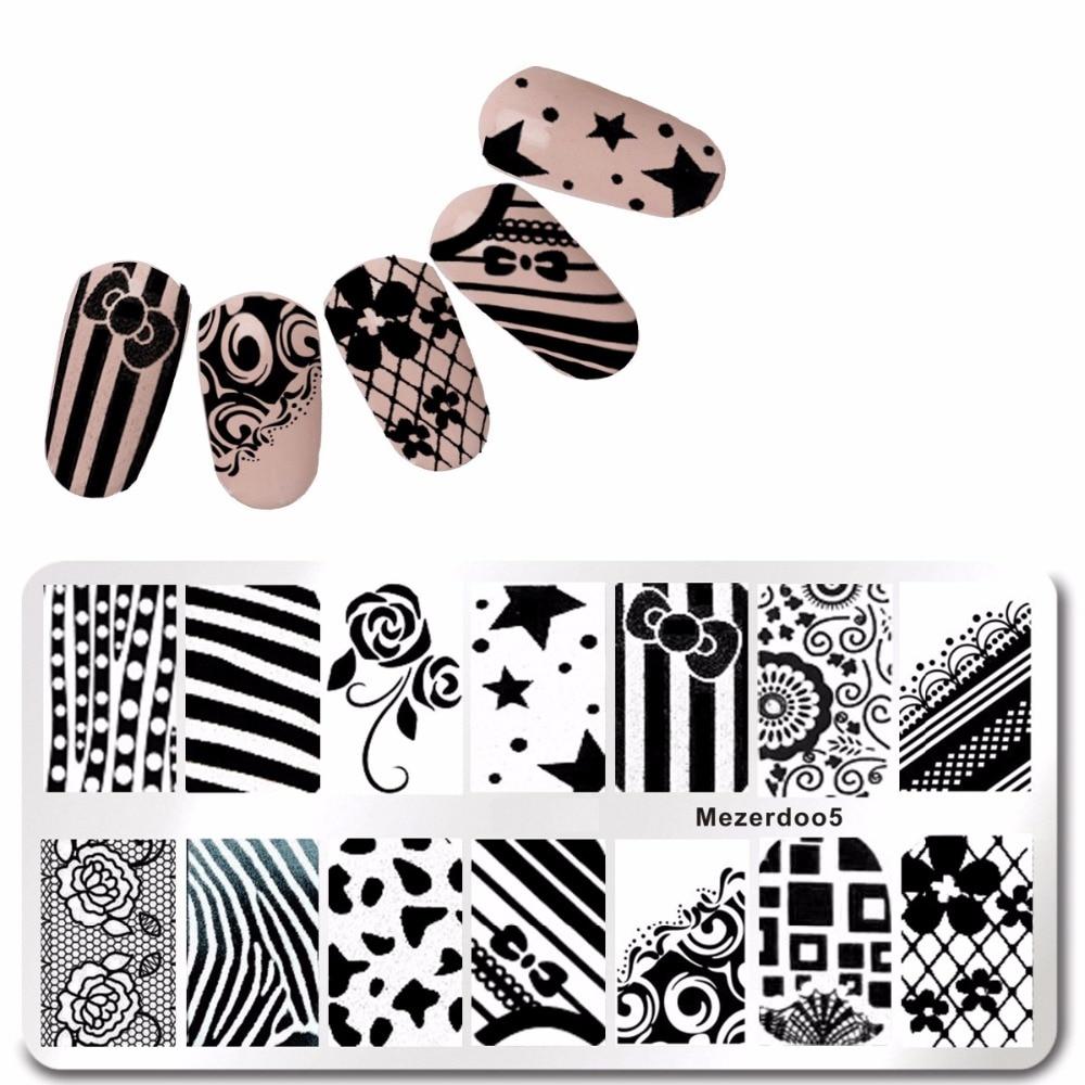 Bow Nod Pattern DIY Nail Art Stamping 1Pcs Lace Template Imagine - Manichiură