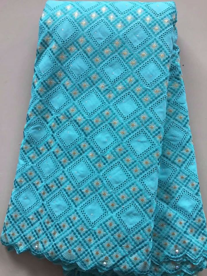 5 Yards/pc Nice looking water blue african cotton fabric embroidery design swiss voile lace for clothes dress L7-65 Yards/pc Nice looking water blue african cotton fabric embroidery design swiss voile lace for clothes dress L7-6