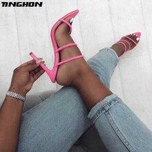 TINGHON Summer New Shoes Woman Fluorescent Mules Glitter Peep Toe Slides High Heel Slippers Slip On Fashion Sandals