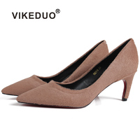 Vikeduo 2018 Summer Hot Sale Women High Heel Shoes Solid Suede Wedding Party Shoes Ladies Handmade Leather Zapatos Mujer pumps