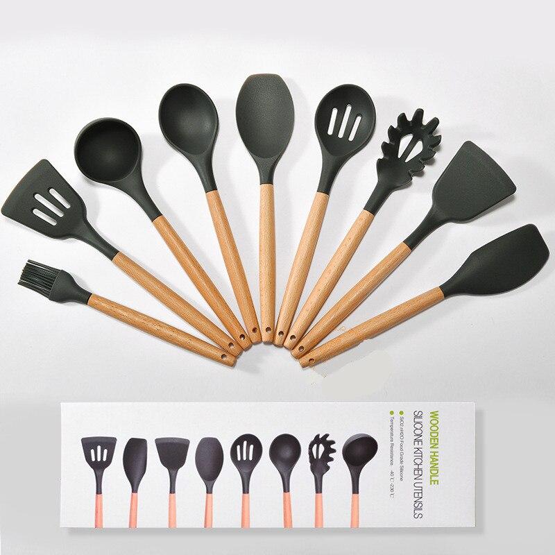 9 pièces/ensemble Silicone antiadhésif cuisson batterie de cuisine en bois poignée ménage cuisine outils de cuisson ensemble cuisine ustensiles Gadgets