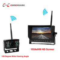 120 Degree Wide Angle Wireless Parking Reverse Backup Rearview Camera with 18 LED IR HD 1024x600 Monitor for Truck Bus RV Van