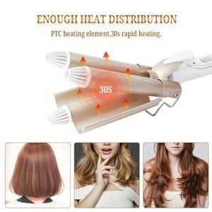 Image 5 - Professionnel cheveux fer à friser en céramique Triple baril bigoudi cheveux Waver outils de coiffure cheveux Styler 110 220V