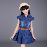 Kids Dress For Girls Summer Denim Dress For Girls Kids 6 8 10 12 With Belt Dress Girl Teenage Vestidos Infantis Clohes
