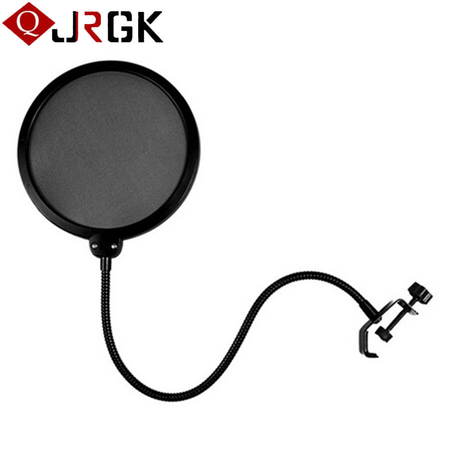 Microphone Cover Double Layer Studio Microphone Mic Wind Screen Pop Filter Swivel Mount Mask Shied For Speaking Recording Studio