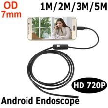 Endoskop 7 мм 1 М 2 М 3 М 5 М USB Android Камеры Эндоскопа Инспекционной Камеры Телефона IP67 OTG USB Endoscoop Камеры Бороскоп Endoscopio