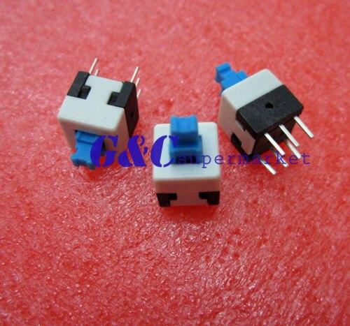 50pcs 8X8mm Cap Self-locking Type Square Blue Button Switch Control NEW