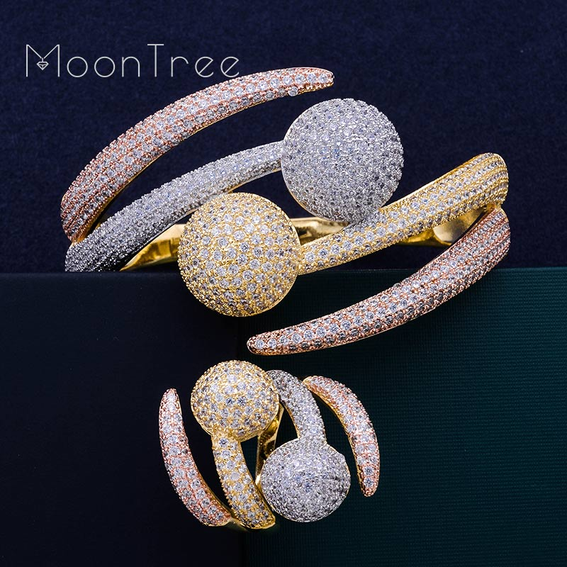 MoonTree Luxury Big Ball Full Mirco Pave Cubic Zircon 3 Tone Color Women Brand Bijoux Fashion Bangle Ring Sets Party