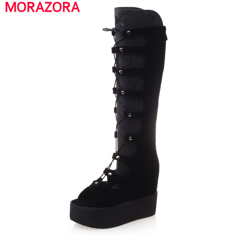 MORAZORA Flock zipper platform shoes woman fashion elegant long boots in summer solid peep toe cool boots big size 34-43