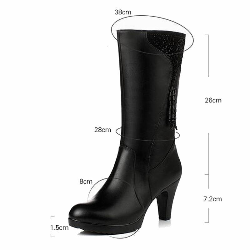 GKTINOO bottes d'hiver en laine fourrure à l'intérieur des chaussures chaudes femmes chaussures en cuir véritable talons hauts bottes chaussures Botas grande taille 35 43-in Bottines from Chaussures    3