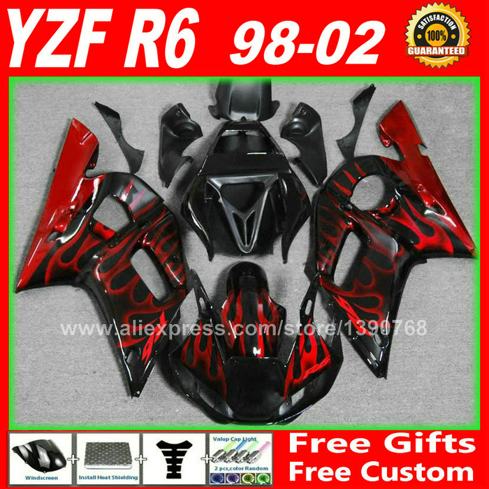 Fairings fit for YAMAHA R6 1998 1999 2000 2001 2002  Red flames body parts  98 99 00 01 02 fairing kits H6G3