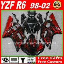 Verkleidungen fit für YAMAHA R6 1998 1999 2000 2001 2002 Rot flammen körper teile 98 99 00 01 02 verkleidung kits H6G3