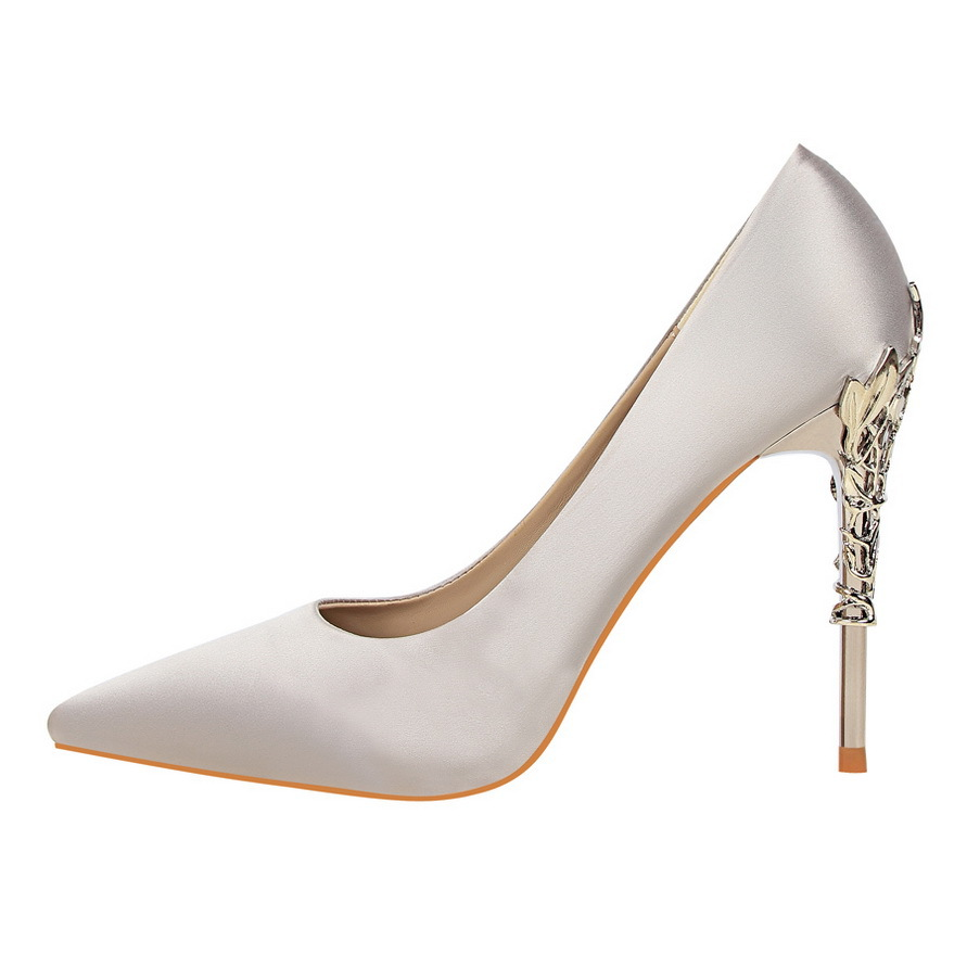 Women's Shoes Flower plated Metal Heel Elegant Sexy High Quality Dress Party Wedding Casual Soft Woman's S Shoes