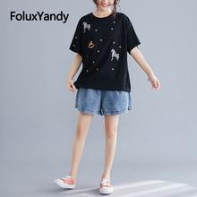 купить Cartoon Embroidery Tops Black/White Casual Short Sleeve T-shirts Women Loose Summer Tops Plus Size XXXL 5XL NQYL128 по цене 1038.84 рублей