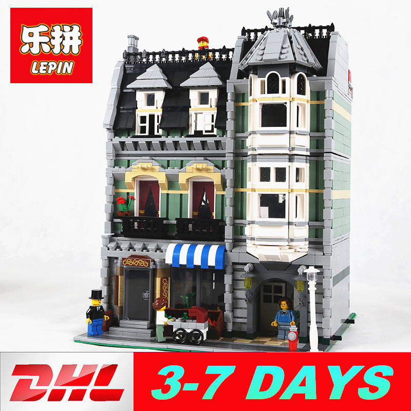 Lepin 15008 2462pcs Blocks City Street Green Grocer Model Building Bricks Compatibel Legoed 10185 Toys Gift for Kids lepin 15008 2462pcs city street green grocer legoingly model sets 10185 building nano blocks bricks toys for kids boys