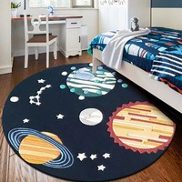Stars and universe decoration rug for boy's room ,blue round shaped living room carpet ,children's room playing floor mat