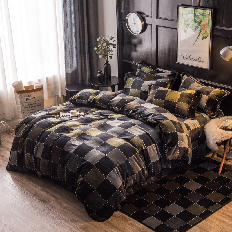 buy gray color 4 pcs queen size comforter set bedding set high quality cartoon. Black Bedroom Furniture Sets. Home Design Ideas