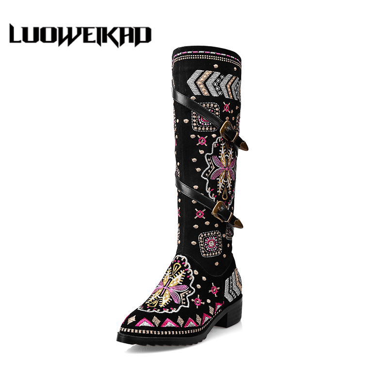Embroidered  Women's Autumn Boots Slouchy Shaft Buckle Straps Female Shoes Casual Botines Daily Embroidery Women's Autumn Boots double buckle cross straps mid calf boots