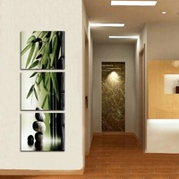 Modern fashion HD print landscape oil painting on canvas abstract bamboo stone scenery oil painting home decorations