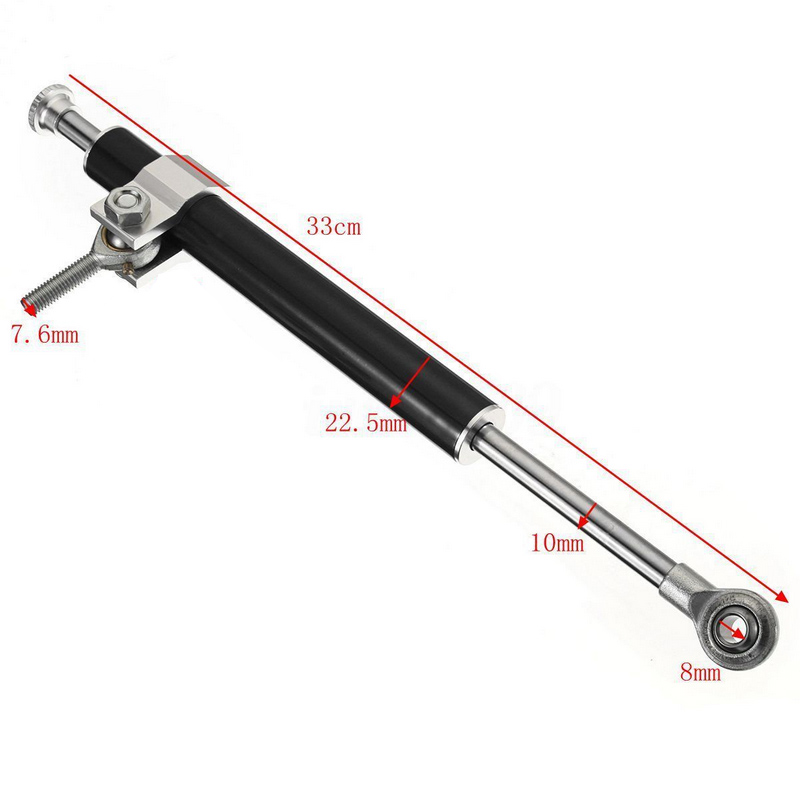 330mm Universal Motorcycle Steering Damper 6way Adjust Stabilizer Linear Motorbike Aluminum Steering Damper Stabilizer