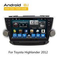 Бесплатная доставка 8,1 Android 10,1 автомобиль видео плеер для Toyota Highlander 2008 2009 2012 2011 видеорегистратор с радио gps навигации 2010 без DVD